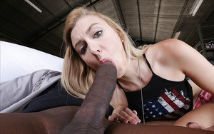 Young blonde slut Alexa Grace wrapping her lips around huge black cock