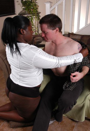 Obese black chick Dynasty eating cum from hand after jerking off small cock