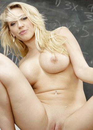 Young blonde Kagney Linn Karter lets her big tits free from blouse in class