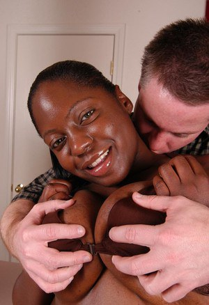 Black fatty Dynasty taking a cumshot on her huge ass from white dude