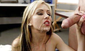 Blonde babe Jeannie Marie Sullivan giving a blowjob and swallowing jism