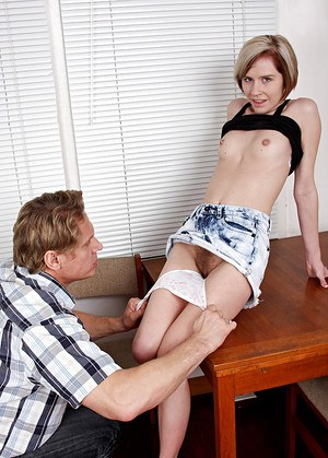 Petite amateur Kelly Klass has panties ripped off for licking of hairy cunt