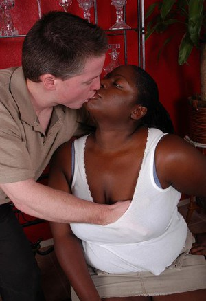 Ebony BBW Dynasty eating jizz from hand after coaxing cumshot from cock