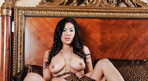 Busty Asian babe London Keyes playing with perfect big natural boobs