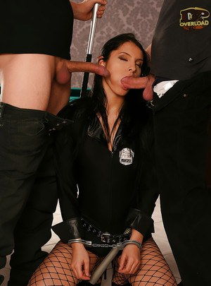 Gorgeous brunette policewoman Lana S getting face fucked by two cocks