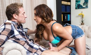 Petite and busty Jean Michaels flaunting big knockers in front of hubby