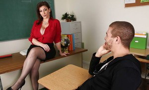 Chesty teacher Sara Jay and a student engage in oral sex at school
