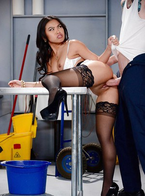 Sultry Asian whore Cindy Starfall taking cock from behind in stockings