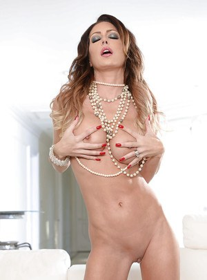 Lingerie adorned babe model Jessica Jaymes posing topless