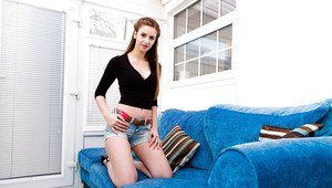 Teen babe Stella Cox strutting non nude in denim shorts and high heels