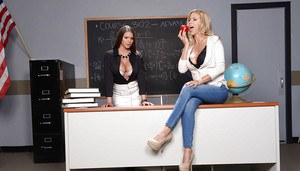 Chesty chicks Alexis Fawx and Brooklyn Chase modeling non nude in class