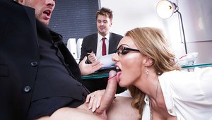 Blonde secretary Stacey Saran lets her big knockers free from blouse