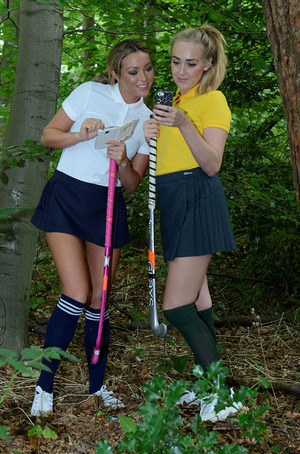 Young lesbian schoolgirls Lucy-Anne Brooks and Natalia Forrest