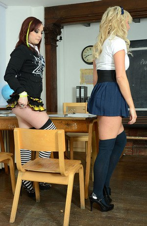 Young schoolgirls Amy Green and Sarah Stevens modeling sexy leggings