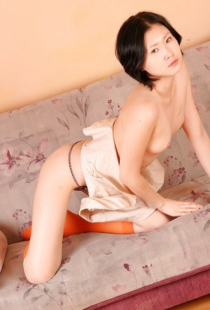 Short haired Asian first timer Dia posing topless in socks and underwear
