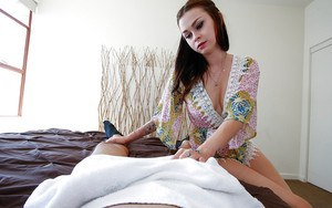 Teen first timer Vera Drake delivering a CFNM blowjob from POV perspective