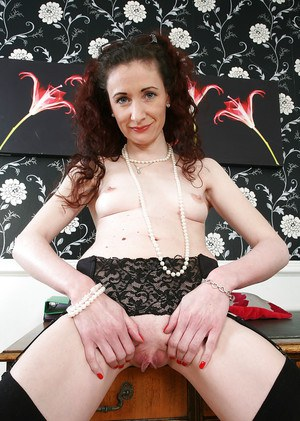 Mature woman Scarlet spreading hairy vagina on desk after removing dress