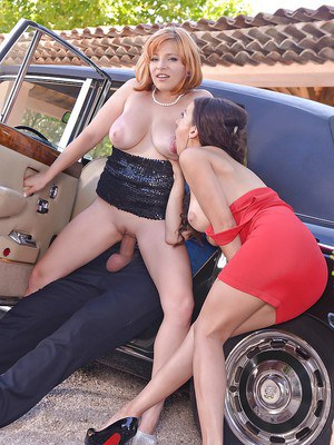 Fully clothed females Sophia Laure and Lola Fauve sucking cock and balls