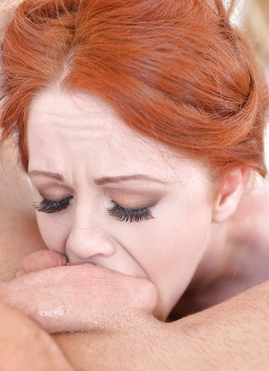 Rope bound redhead Ella Hughes has her face fucked in BDSM action