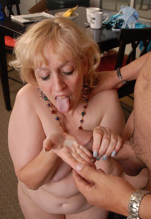 Obese older blonde Anne getting fucked doggystyle before eating jism