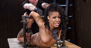 Kinky black girl Jessica Creepshow is flogged hanging upside down