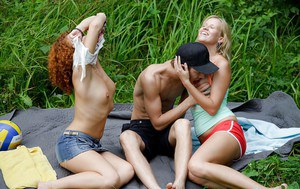 Hot interracial threesome with ebony teen Melissa H and blonde gf outdoors