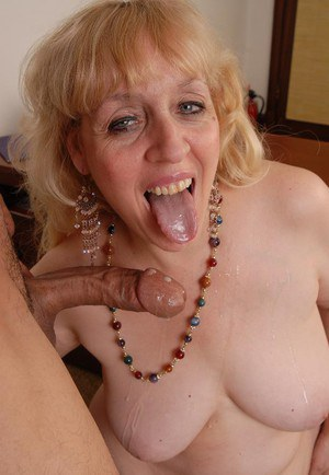 Mature blonde BBW Anne giving blowjob and deepthroating too
