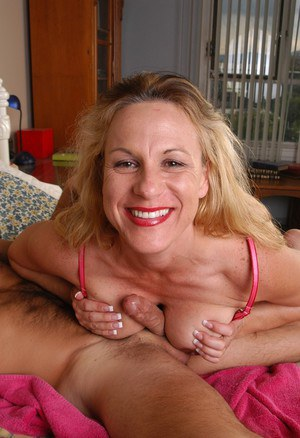 Older blonde woman Summer riding cock to cumshot finale in sexy lingerie