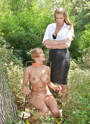 Rough lezdom sex outdoors with hot chicks Loulou Petite and Danielle Maye
