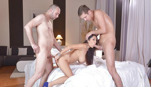 Chesty Euro beauty Susana Alcalue taking hardcore DP from large cocks