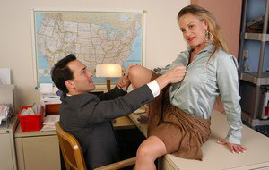 Older blonde secretary Summers sporting creampie after office sex