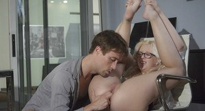 Nerdy blonde secretary Samantha Rone giving CFNM blowjob on knees a work
