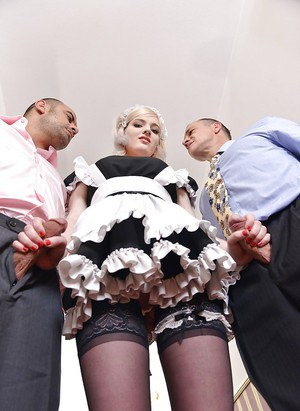 Blonde maid Carly Rae deepthroating two cocks and cum swallowing