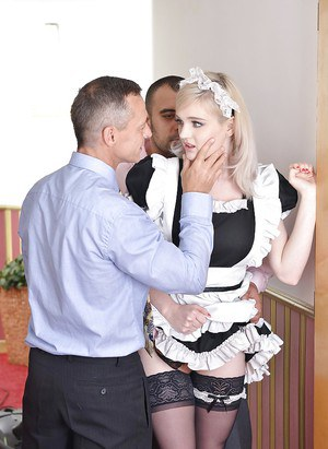 Sexy blonde in maid's uniform Carly Rae giving rimjob and sucking cock