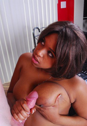 Curvy ebony chick Aleera sucking and jerking white cock for cumshot on tits