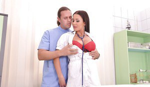 Top heavy nurse Patty Michova taking doggystyle fucking from large penis