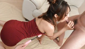 Japanese cutie Yukina Momota delivering ball licking and handjob service