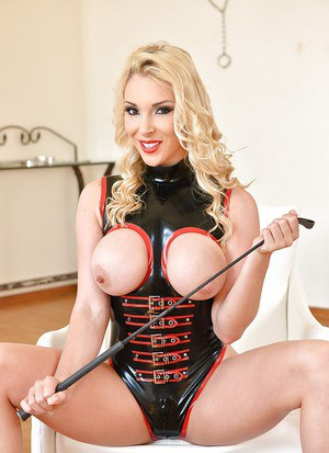 Buxom Euro babe Victoria Summers using riding crop to masturbate with