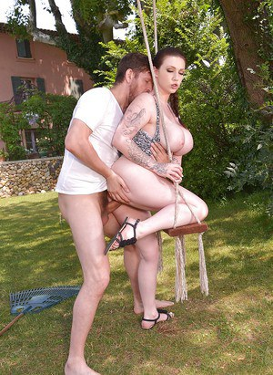 Buxom Euro chick Harmony Reigns taking cumshot on big breasts outdoors