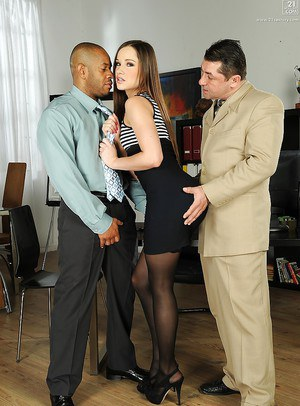 Interracial threesome sex with stocking and high heel adorned Ashley