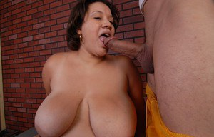 Older ebony fatty Monet taking cumshot on massive saggy tits from long dick