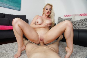 Busty blond Euro chick Victoria Summers taking cock in shaved cunt after bj