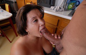 Older BBW Monet having huge boobs and nipples licked in kitchen