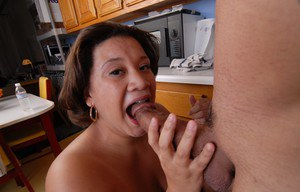 Ebony BBW Monet tit smothering man in kitchen with huge boobs