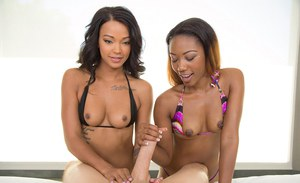 Sexy ebony chicks Chanell Heart and Harley Dean give white cock blowjob