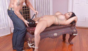Bound Asian MILF Tigerr Benson tit tortured before forced anal penetration