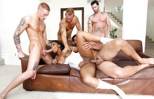 Busty ebony chick Monique Symone taking anal while giving bj in gangbang