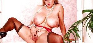 Big boobed blond mom Chloe Vevrier flaunts big juggs while spreading beaver