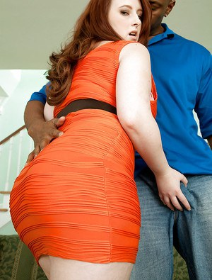Obese redhead Felicia Clover showing off big white ass for black cock love