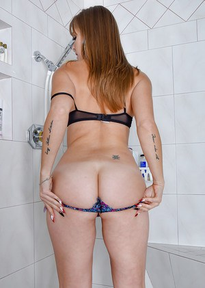 Older lady Miss MelRose bare big boobs and spread ass cheeks in shower